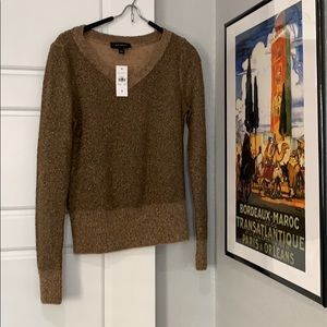 NWT   Ann Taylor   Sparkly gold/olive sweater